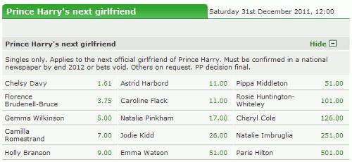 Paddy Power: Wer wird Prinz Harry's nächste Freundin?