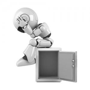 3D-Bild: Roboter sitzt verloren auf leerem Safe