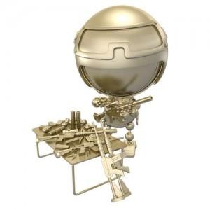 3D-Bild: Krieger (Roboter), welcher seine Waffen reinigt, zerlegt und montiert