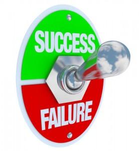 Umschalter aus Metall für Success (Erfolg) und Failure (Misserfolg)