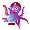 Octopus Fortune Teller with Crystal Ball / Octopus Wahrsager mit Kristallkugel