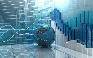 Börse Konzept - Globus mit Diagrammen im Hintergrund