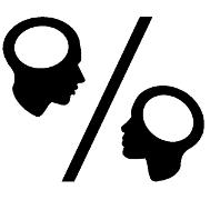 Köpfe von Mann und Frau dargestellt als Prozentzeichen