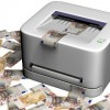 Money printer with loads of bank notes / Gelddrucker mit vielen Banknoten