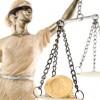 Justice blindfolded with money on a scale / Gerechtigkeit mit verbundenen Augen mit Geld auf einer Waage