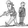 Cartoon: Businessmen look on as old timer uses divining rod / Geschäftsleute sehen seinem alten Mann mit Wünschelrute zu