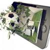 Soccer ball on cell phone; broken glass mobile phone / Fußball bricht durchs Handy; viele Glasscherben