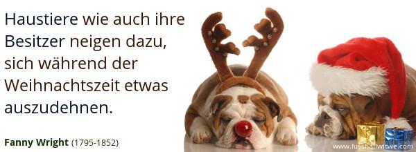 Weihnachtszitat: Haustiere wie Besitzer neigen dazu, sich während der Weihnachtszeit etwas auszudehnen - Fanny Wrigh