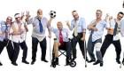 Soccer team of injured businessmen after a tough game / Fußballteam verletzter Geschäftsleute nach einem harten Spiel