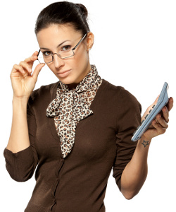 Business woman holding calculator / Businessfrau mit Taschenrechner