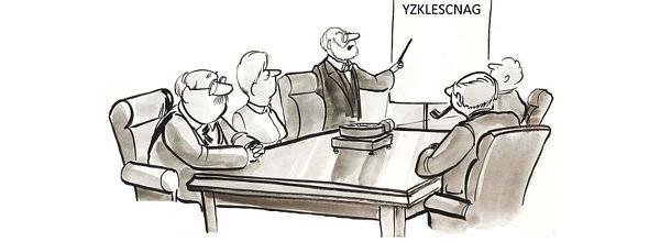Karikatur: Gruppe vor einem Whiteboard mit einem sehr seltsamem Wort