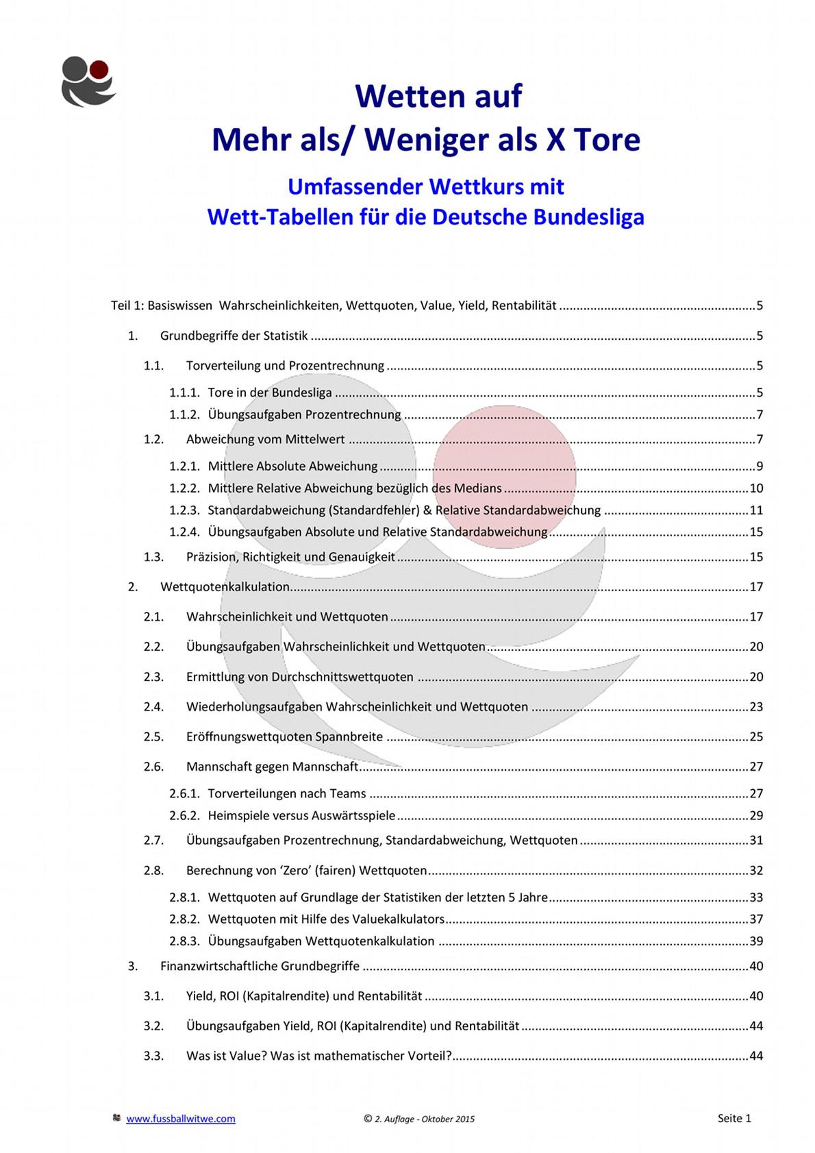 Buchvorschau: Wettkurs Inhaltsverzeichnis - Seite 1