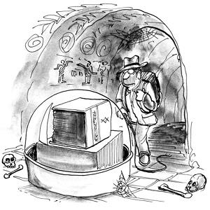 Cartoon: Indiana Jones am Ziel, vor einem dicken Regelwerbuch
