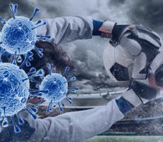 Illustration Coronavirus und Fußball